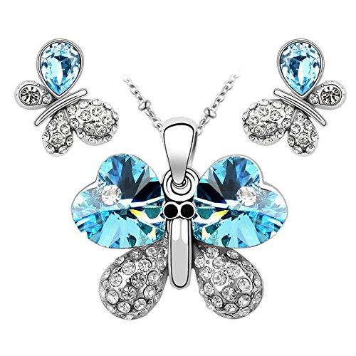 Le Premium® - Farfalla gioielli Set Collana + della vite prigioniera cuore a forma di Swarovski Blu cristallo