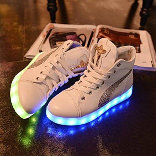 [Présents:petite serviette]JUNGLEST - 7 Couleur Mode Unisexe Homme Femme USB Charge LED Lumière Lumineux Clignotants Chaussures de marche Chaussures de Sports Blanc (ornement de faux diamants)