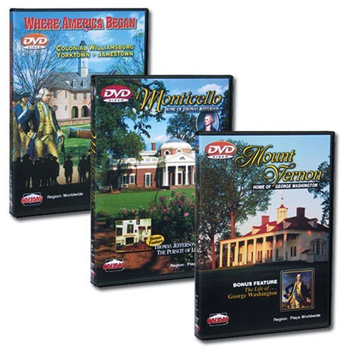 U.S. History Gift Set #1 - Where America Began: Jamestown, Yorktown & Colonial Williamsburg - Mount Vernon - Monticello (Colonial America Dvd)