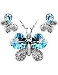 Le Premium Ensemble de bijoux Collier avec pendentifs pendentif en papillon clous en forme de cristal Swarovski cristal bleu aquamarine