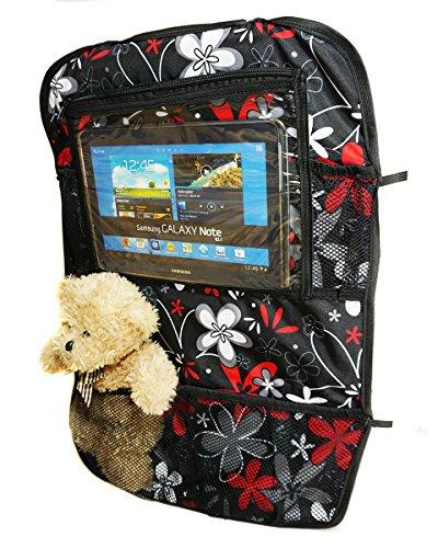 Auto Rücksitz Tablet iPad Organizer Multi Tasche Rückenlehnenschutz Sitzschoner Blumen Rote Graue [007]