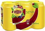 شراب الشاي المثلج مع الفواكه الحمراء من ليبتون - شراب غير غازي - علبة معدنية - مجموعة من 6 علب كل منها سعة 320