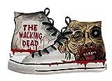 The Walking Dead Chaussures Toile Chaussures Sneakers Chaussures de peint à la main, Homme Enfant femme, gris