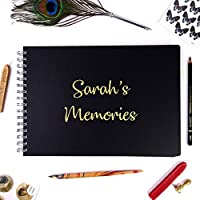Personalised Black A3/A4/A5 Wire-Bound Landscape Sketchbook/Scrapbook/Photo Album with Gold Lettering