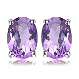 JewelryPalace Oval 1.4ct Natural Purple Amethyst Birthstone Stud Earrings Pure 925 Sterling Silver