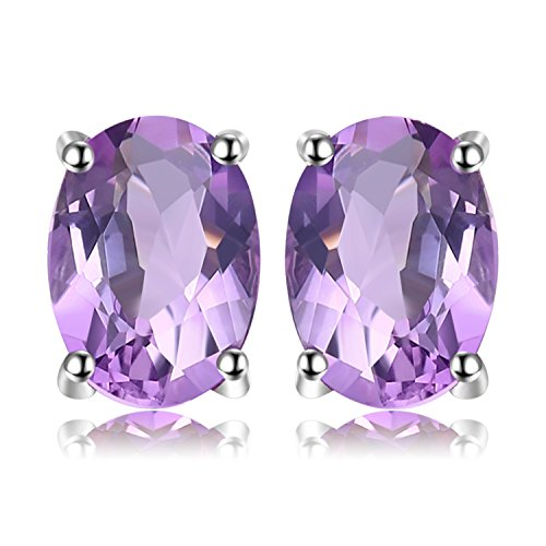 JewelryPalace Oval 1.1ct Natürlicher purpurroter Amethyst Birthstone Solitaire Ring Solid 925 Sterling - Oval Ohrringe Silber