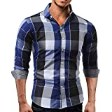 Camisas Hombre Manga Larga,Camisetas Blusas Tops Hombre,Sujetador Camisa de Manga Larga para Hombre by Venmo (Azul, L)
