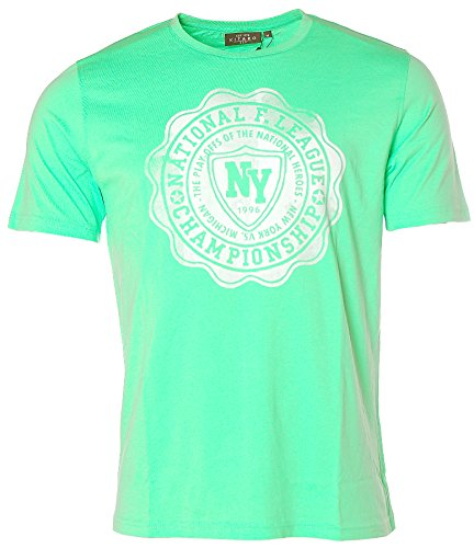 Kitaro Herren Kurzarm Shirt T-Shirt Rundhals The Play-Offs of the National Heroes Neon Green