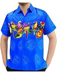 perroquet mens hawaïen plage chemise aloha vêtements décontractés fantaisie manches courtes col cerf Luau parti xs-5xl