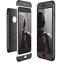 CE-Link Funda para Apple iPhone 6 Plus 6S Plus Rigida 360 Grados Integral, Carcasa iPhone 6 Plus Silicona Snap On Diseño Antigolpes Choque Absorción, iPhone 6S Plus Case Bumper 3 en 1 Estructura - Negro