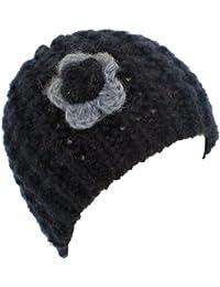 Ladies Soft Chunky Mohair beanie with crochet flower