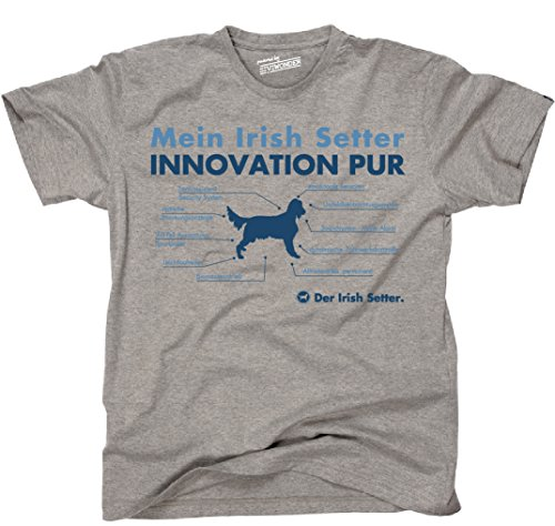 Siviwonder Unisex T-Shirt INNOVATION IRISH SETTER TEILE LISTE Hunde lustig fun Sports Grey