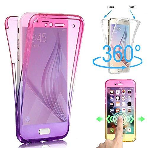 Shinyzone 360 Grad Ganzkörper Stoßfest Hülle für Samsung Galaxy S9, Vorne und Hinten klar 2 Stück Weich TPU Silikon Hülle,Ultra Dünn Kratzfest Schutzhülle,Rosa Lila Farbverlauf