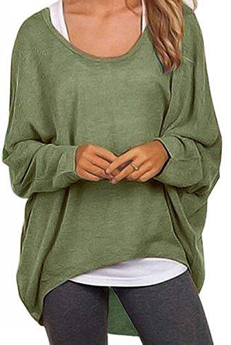 Meyison Damen Lose Asymmetrisch Sweatshirt Pullover Bluse Oberteile Oversized Tops T-Shirt Armee Grün-XL