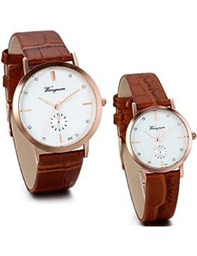 JewelryWe 2pcs Herren Damen Armbanduhr, Lieben Valentinstag Geschenk, Einfach Casual Analog Quarz Uhr mit Leder...