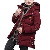 Mantel mit Kapuze für kinder Baby Jungen Reißverschluss-Tasten Lang Dufflecoat Winter Baumwolle Dick Warm Outerwear Jacke Rot/Marineblau