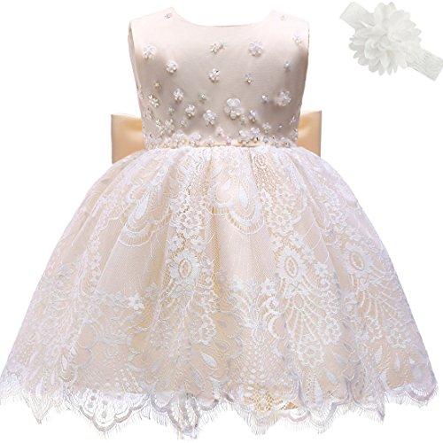 AHAHA Baby Mädchen Prinzessin Kleid Blumenmädchenkleid Taufkleid Festlich Kleid Hochzeit Partykleid Festzug Babybekleidung (Stirnband Champagner)