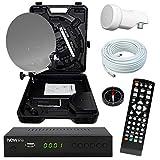 netshop 25 Camping SAT Koffer 40cm Spiegel + HD Receiver (12V & 220V) + Single LNB + 10m Kabel