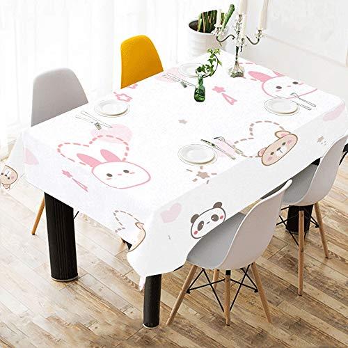 Yushg Chinesische Panda Kaninchen Benutzerdefinierte Baumwolle Leinen Gedruckt Platz Fleck Beständig Tischwäsche Tuch Abdeckung Tischdecke Für Küche Home Dining Room Tabletop Decor 60x84 Zoll