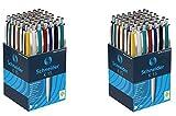 Schneider Kugelschreiber K15, Schreibfarbe blau, 100 Stück, Gehäusefarben rot, grün, weiß, blau, schwarz, gelb (2x 50 Stück))
