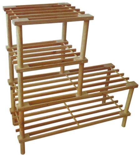 4 Etagen Regal Schuhregal Ständer Organizer aus Naturholz