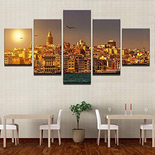 Kunstwerk modulare Bilder Arbeiten 5 Panel Sonnenuntergang Stadt Landschaft Home Decor Wohnzimmer Wand HD gedruckt Moderne Leinwand