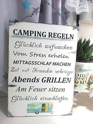 Camping Regeln Holzschild im Shabby Vintage Style Weihnachtsgeschenk für Camper