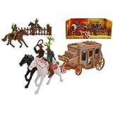 TOYLAND Juego de Juego Wild West Cowboy & Stagecoach - Incluye 4 Caballos, 4 Jinetes
