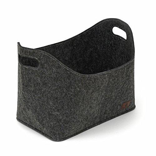 flamaroc® - Premium Kaminholztasche aus Filz für Holz, Zeitungen, Kaminholz in anthrazit grau - Filztasche Maße 40 x 23 x 30 cm