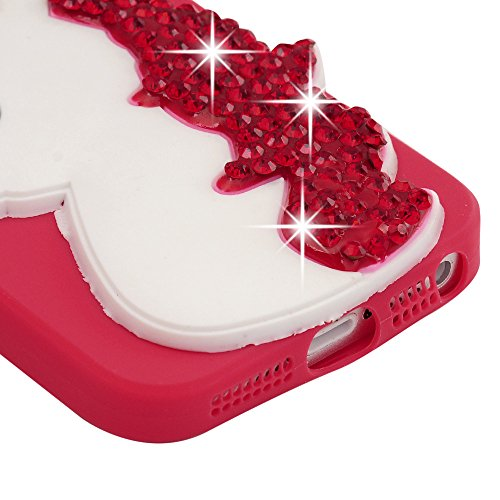 Lanveni Handyhülle für iPhone 5/iPhone 5s/iPhone SE Hülle Etui Protective Case Cover Diamond TPU Schutzhülle TPU-Bumper Weiche Silikon Case mit Bunte Cover Design (Gelb)+1×Kondensatorstift+1×Staubstec Rot