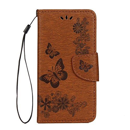Apple iPhone X hülle, Voguecase Kunstleder Tasche PU Schutzhülle Tasche Leder Brieftasche Hülle Case Cover (Groß Schmetterling/Blau) + Gratis Universal Eingabestift Groß Schmetterling/Braun