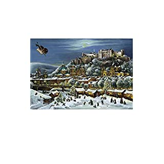 2314 - Bruck & Sohn Advent - Scene from city of Salzburg - 10.5H x 15W x .013D by Alexander Taron Importer