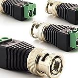 zanasta [4 Stück] BNC Stecker Terminalblock Connector zu 2 Pol Adapter, Kabel Verbinder mit Schraubklemme Schwarz-Grün