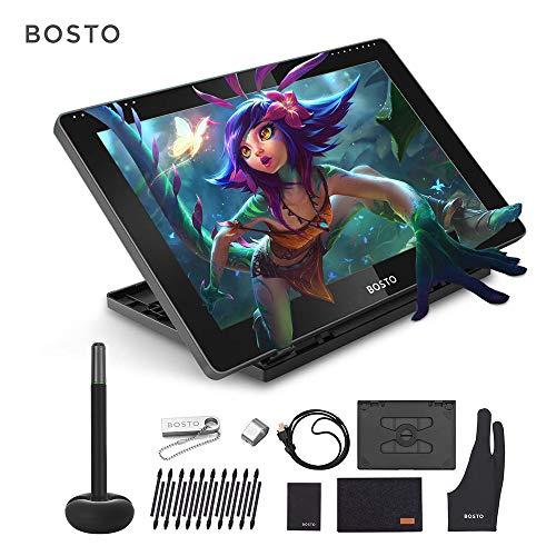 Leslaur BOSTO BT-16HD Tragbares 15,6-Zoll-H-IPS-LCD-Grafiktablett-Display 8192 Druckstufe Passive Technologie USB-betriebenes Zeichentablett mit geringem Verbrauch und interaktivem Stylus
