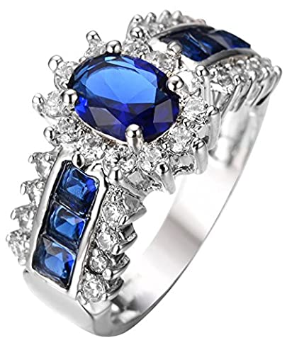 SaySure 10KT White Gold Filled Sapphire Anniversary Wedding & Engagement Ring