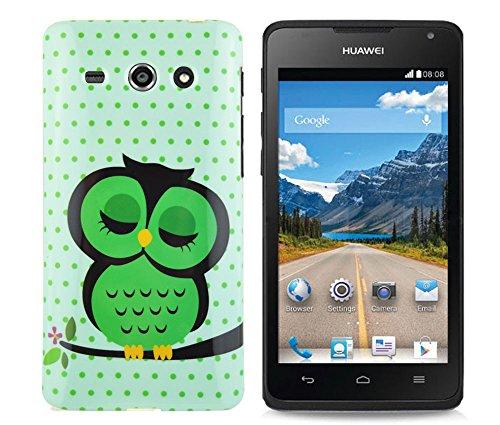 gada - Handyhülle für Huawei Ascend Y530 - Hochwertiges TPU Case Cover Schutzhülle im stylischen Design - große Eule grün Owl green