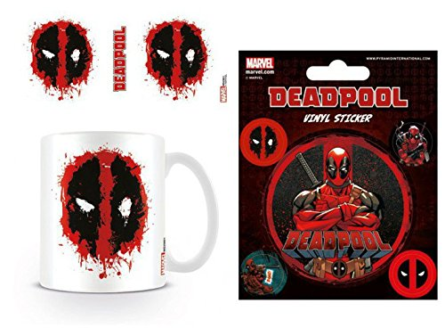 Set: Deadpool, Splat Foto-Tasse Kaffeetasse (9x8 cm) Inklusive 1 Deadpool Poster-Sticker Tattoo...