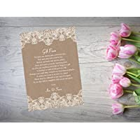 Personalised Wedding Gift Poem Money Request Cards Favour X 10 Lavendar WI51