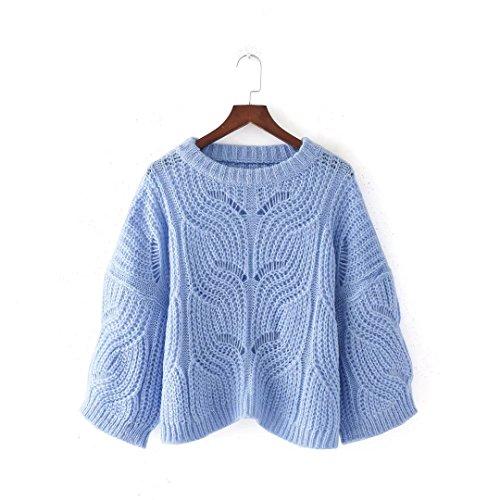 QIN&X Donna in maglia tonda larghi collare alto Pullover Jumper Felpa lavorata a maglia Blue