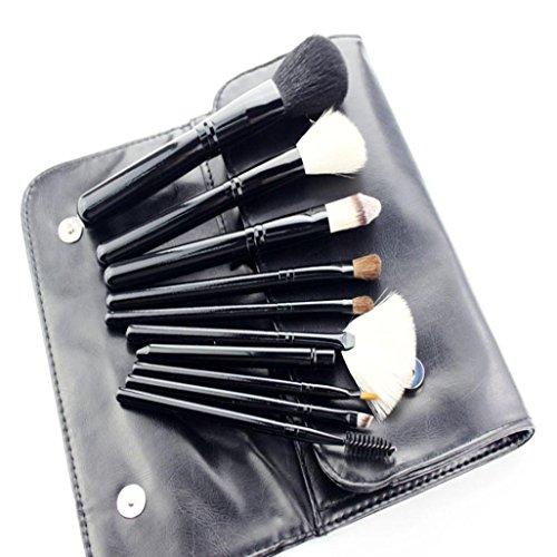 MuSheng(TM) 10pcs brosse brosse de haut grade ensembles cosmétiques maquillage de laine (Noir)