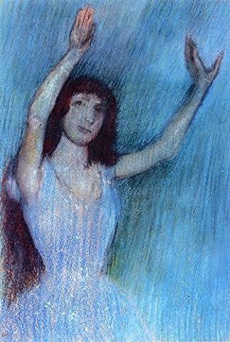 Dancer In Blue, Arms Raised - By Edgar Degas - impressions sur toile 20x30 pouces - sans cadre