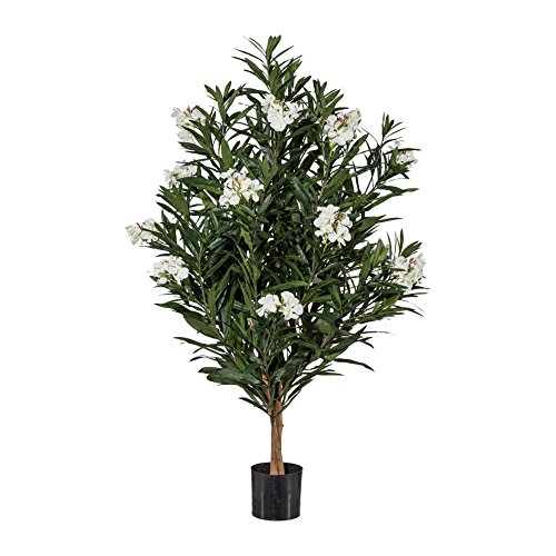 Oleander Stamm Busch Kunstpflanze Dekobaum H 140 cm weiß getopft 1716903-40 F46