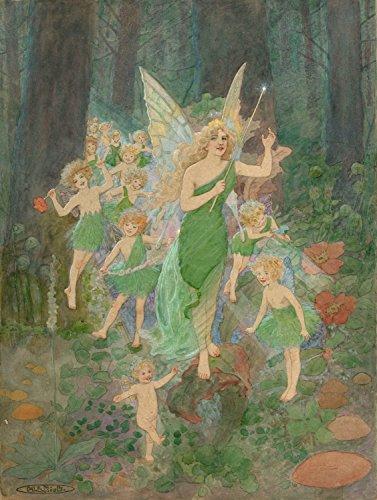 Vintage Toys, Kinderzimmer und Märchen Fairy Titania und Ihren Fee-Zug von Marie Louise Kirk 250gsm, Hochglanz, A3, vervielfältigtes Poster (Märchen-zug)