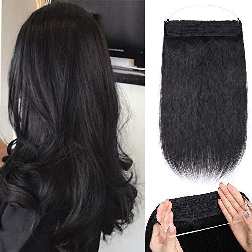 Extension con filo invisibile capelli veri 100% remy human hair double weft fascia unica 1 nero scuro 45cm 100g