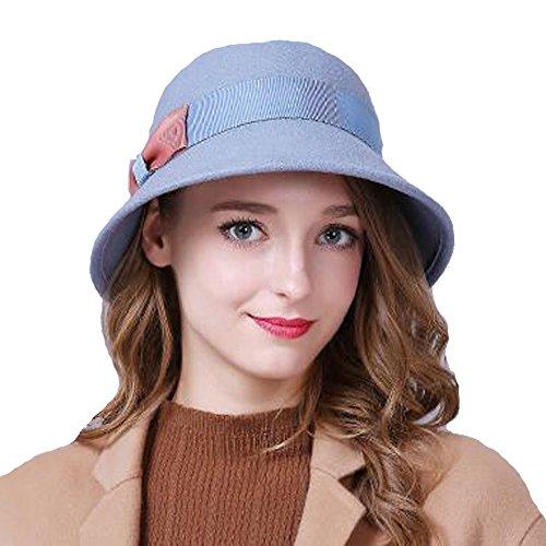 Frau Bowler Hut Damen Jahrgang Wolle Melton Niedlich Bowknot Filz Kappen Fedora Hut 80Store (Niedliche Kostüme Clown Frauen Für)