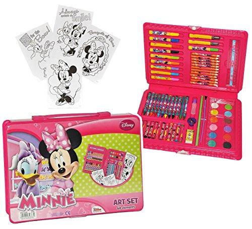 XL Set Stifte-Koffer 71 tlg. - Minnie Mouse - Malkoffer mit Stiften und Farben - Kinder Bastelset...