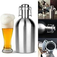Anqeeso - Botella de cerveza de acero inoxidable para cerveza casera, con tapón de cerveza y tapón de seguridad