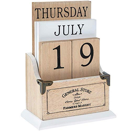 Home Sweet Home Vintage Wooden Perpetual Calendar - Desk Top Eternal Calender Blocks