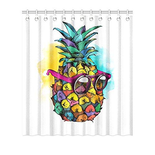 pandain Cool Ananas mit Sonnenbrille Cartoon wasserdicht Duschvorhang, Polyester PEVA Vorhang für Badezimmer stilvollen Badezimmer Decor 182,9cm × 182,9cm