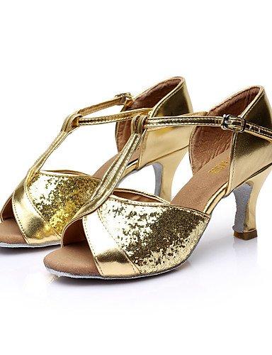 La mode moderne Sandales femmes personnalisables Chaussures de danse salsa/latin/bal/Paillette Talon satin Personnalisés noir/brun/Rouge/Argent/Or Brown